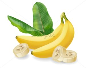 Banana fruit isolated Vector realistic poster template. Mock up for label design - starpik