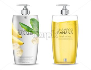 Banana shampoo Vector realistic mock up. White and yellow bottles cosmetics. Product placement label design. Detailed 3d illustration - starpik