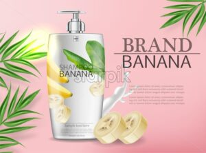 Banana shampoo Vector realistic mock up. White bottle cosmetics. Product placement label design. Detailed 3d illustration - starpik