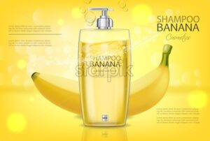 Banana shampoo Vector realistic mock up. Yellow bottle cosmetics. Product placement label design. Detailed 3d illustration - starpik