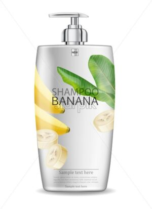 Banana shampoo isolated Vector realistic mock up. White bottle cosmetics. Product placement label design. Detailed 3d illustration - starpik