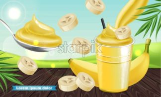 Banana smoothie Vector realistic mock up. Juicy drink with splash. Product placement. Detailed 3d illustration - starpik