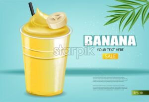 Banana smoothie Vector realistic mock up. Juicy drink with splash. Product placement. Detailed 3d illustrations. blue background - starpik