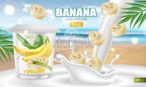 Banana yogurt Vector realistic mock up. Product placement label design. Yogurt pourring liquid. Tropic background. 3d illustration - starpik