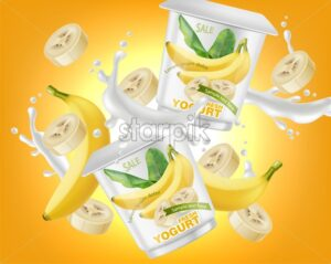 Banana yogurt package splash Vector realistic. Product placement label design. Yogurt pourring liquid. Mock up 3d illustration - starpik