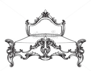 Baroque bed Vector line art. Ornamened decor designs. Luxury imperial royal style - starpik