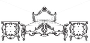 Baroque bed Vector. Imperial style furniture. Vintage design - starpik