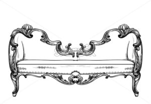 Baroque bench Vector. Imperial style furniture. Vintage design - starpik