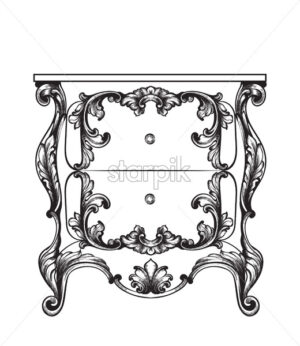 Baroque mirror and nightstand Vector line art. Ornamened decor design - starpik