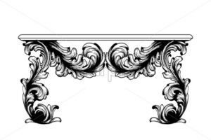 Baroque table Vector. Imperial style furniture. Vintage design - starpik