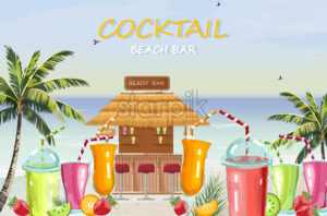 Beach bar cocktail drinks Vector. Fresh juicy smothies and beverages seaside background. summer tropic template icon - starpik