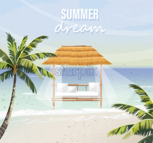 Beach lounge Vector. seaside background. summer tropic template icon - starpik
