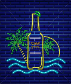 Beer bottle neon sign Vector. Summer icon tropic background - starpik