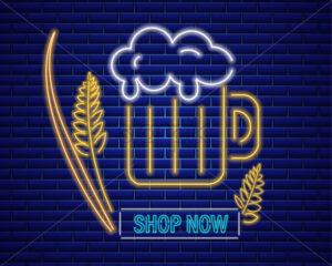 Beer glasse neon sign Vector. Fresh drink symbol icon template - starpik