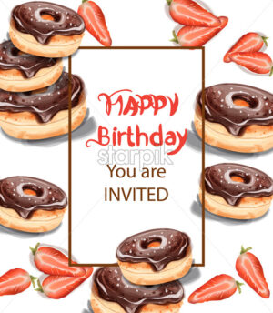 Birthday donuts Invitation card Vector watercolor. Chocolate strawberry sweet decor - starpik