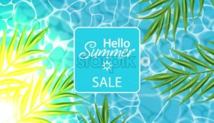 Blue water Vector realistic. Summer sea party poster template. Tropic palm leaves and sun rays light background - starpik