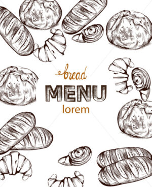 Bread Vector lineart. Vintage homemade bakery menu decor - starpik