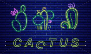 Cactus neon sign Vector. Exotic summer decoration design poster - starpik