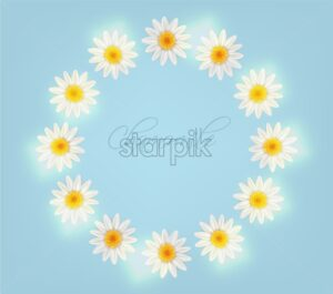 Chamomile wreath Vector. Summer frame background card illustration - starpik