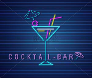 Cocktail drink neon Vector. Summer tropic drink banner poster - starpik