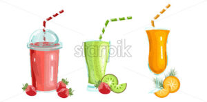 Cocktail drinks set Vector isolated. Fresh juicy smothies and beverages template - starpik