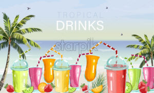 Cocktail drinks set Vector. Fresh juicy smothies and beverages on seaside background. summer tropic template beach bar - starpik