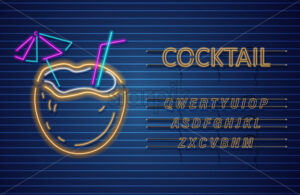 Coconut cocktail neon Vector. Summer tropic drink banner poster - starpik