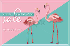 Colorful flmingo banner Vector. Sale promotion abstract background template - starpik