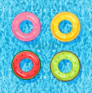 Colorful pool rings on water background Vector. Summer poster inflatable life rings in fruits style - starpik