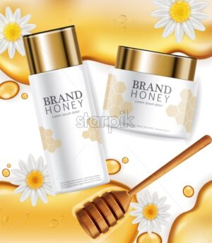 Cream with honey extract Vector realistic mock up. White bottles cosmetics. Product placement label design. Pouring honey. Detailed 3d illustration - starpik