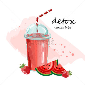 Detox watermelon smoothie Vector. Cocktail drinks Fresh juicy summer beverage - starpik