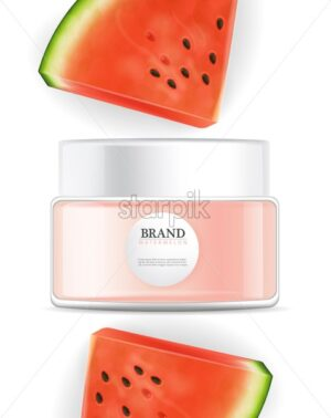 Face cream cosmetics watermelon flavor Vector realistic mock up. Product placement label design. Tropic background. 3d illustration - starpik