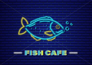 Fish neon Vector. Fresh glowing icon symbol templates. Fish market poster - starpik
