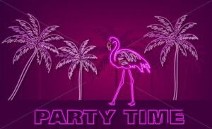 Flamingo and palm trees neon tropic banner Vector. Summer Night club poster label. Bright glowing signboard - starpik