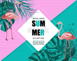 Flamingo banner Vector. Summer Sale promotion abstract background template - starpik