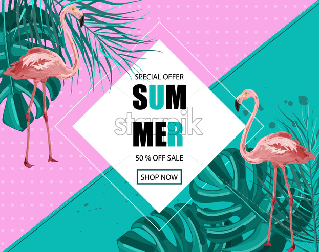 Flamingo banner Vector  Summer Sale promotion abstract background template