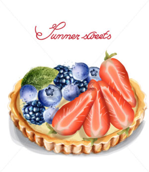 Fruit tartlet Invitation isolated Vector watercolor. Strawberry and blueberry sweet cupcake - starpik