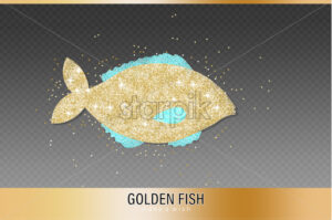 Golden Fish glitter Vector. glowing icon templates. Fish market symbol poster - starpik