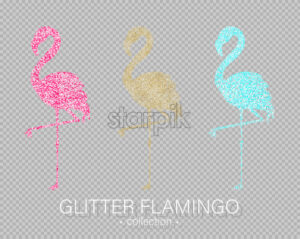 Golden and colorful glitter flamingos shining banner Vector. Night club poster label. Bright sparkling signboard - starpik