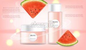 Hand cream watermelon Vector realistic mock up. Product placement label design. Pink lights background. 3d illustration - starpik