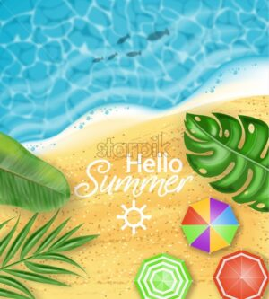 Hello summer card beach sea side Vector realistic top view. Palm leaves, umbrellas, beach background. Summer hot poster template - starpik