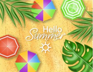 Hello summer card beach sea side Vector realistic. Palm leaves on sand beach background. Summer hot poster template - starpik