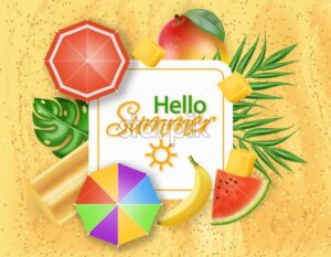 Hello summer card with ice cream, umbrellas and palm leaves Vector realistic. Beach sand background. Summer hot poster template - starpik