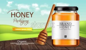 Honey Vector realistic mock up. Product placement label design. Detailed 3d illustration - starpik