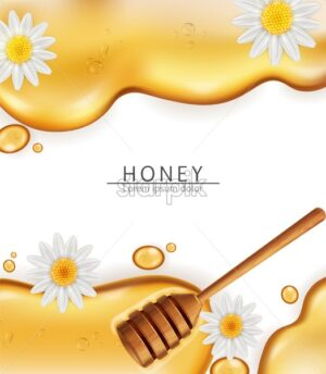Honey dip background Vector realistic. Pouring honey liquid. 3d illustration - starpik