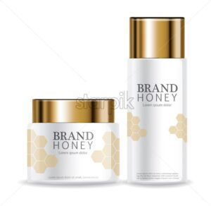 Honey infused cream Vector realistic mock up. White bottles cosmetics. Product placement label design. Detailed 3d illustration - starpik