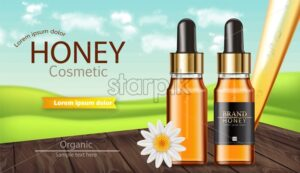 Honey serum bottle Vector realistic. Product placement mock up. Label design package. Nature background. 3d illustration - starpik