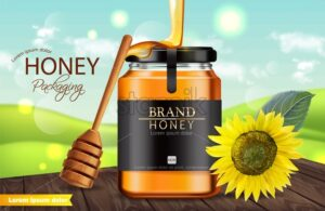 Honey sunflower Vector realistic mock up. Product placement label design. Detailed 3d illustration - starpik
