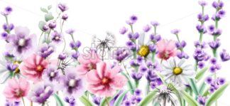Lavender and summer colorful flowers Vector watercolor card background - starpik