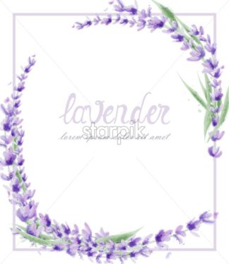 Lavender wreath Vector watercolor. Round frame decor illustration - starpik